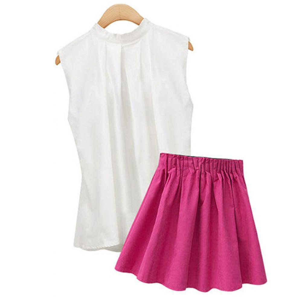 2 Pieces Set White Sleeveless Shirts with Mini Skirt Chiffon Women Female Summer Casual Fashion Clothing Suits-Dress-SheSimplyShops