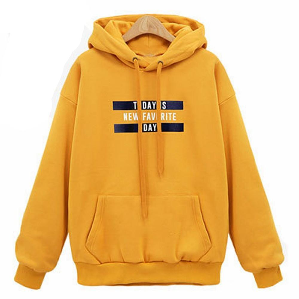 Girls Casual Yellow Color Hoodies with Letter Female Long Sleeve Hooded Pullover Girls Ruffles Slim Spring Tops Clothes-HOODIES-SheSimplyShops