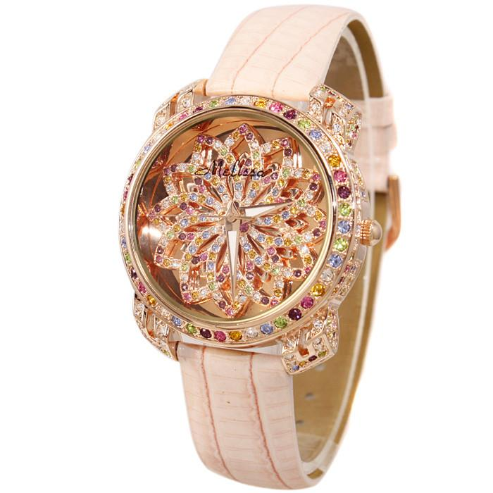 Melissa Lady Wrist Watch Women's Hours Quartz Fashion Dress Leather Bracelet Luxury Candy Crystal Christmas Girl Birthday Gift-Dress-SheSimplyShops