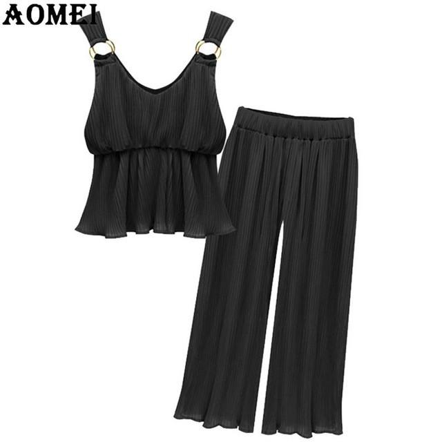 Two Pieces Chiffon Set Women Crop Tops with Wide Leg Pants Female Sleeveless Summer Suit Casual Fashion-Dress-SheSimplyShops