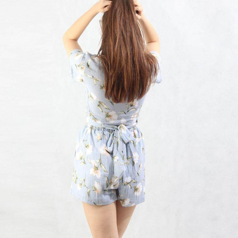 2 Piece Set Women Clothing Floral Crop Tops with Mini Shorts Waist belt Summer Two Piece Set Top and Pants Print Beach Wear-PANTS-SheSimplyShops
