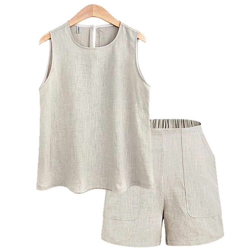 2 Piece Set Women Clothing Linen Sleeveless Tops with Mini Shorts Summer Two Piece Set Tops and Pants wear to Work-PANTS-SheSimplyShops