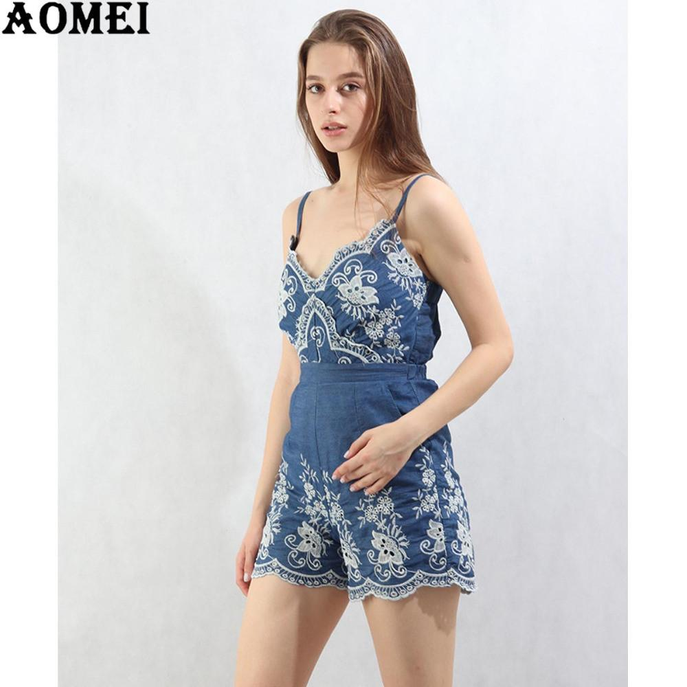 Summer Embroidery Floral Bodysuits Spaghetti Rompers Feminine Junior Girls Floral Sexy Play suit Jumpsuit-ROMPERS & JUMPSUITS-SheSimplyShops
