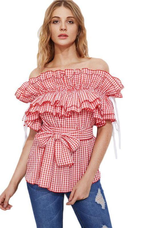 Frill Blouse Red Gingham Tops Off Shoulder Women Cute Tops