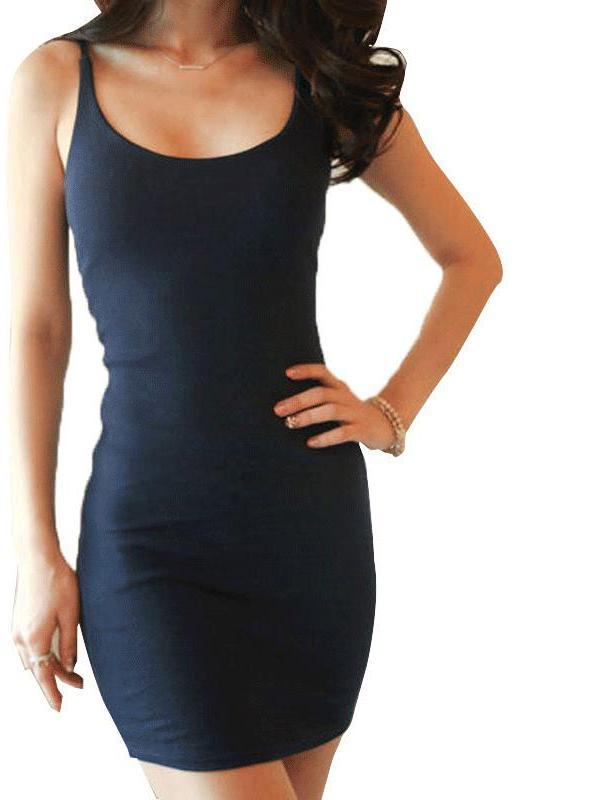 New Fashion Dresses Woman Spaghetti Strap Club Party Mini Sheath Solid Dresses Skinny Fit Short-Dress-SheSimplyShops