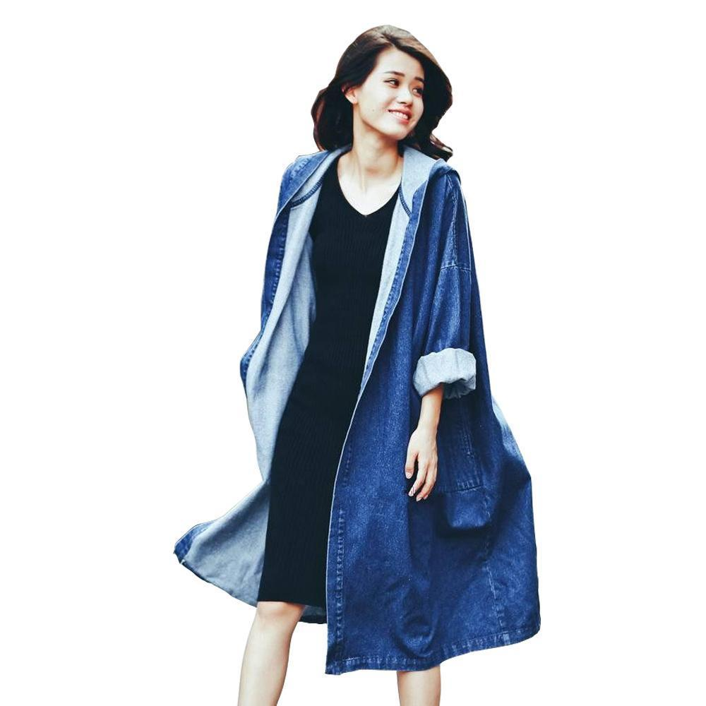 Fashion street women's denim casual trench coat hooded Open stitch long raincoat clothing good quality-Coats & Jackets-SheSimplyShops