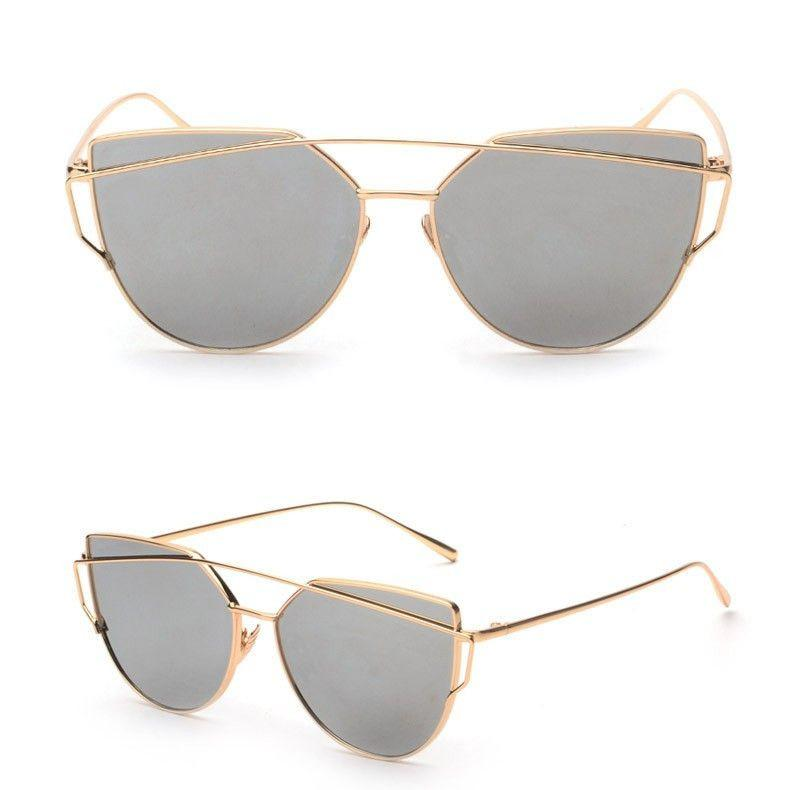 Brand design new luxury womens sunglasses metal wrap cat eye sunglasses pink mirror top quality party summer style UV 400-Tops-SheSimplyShops