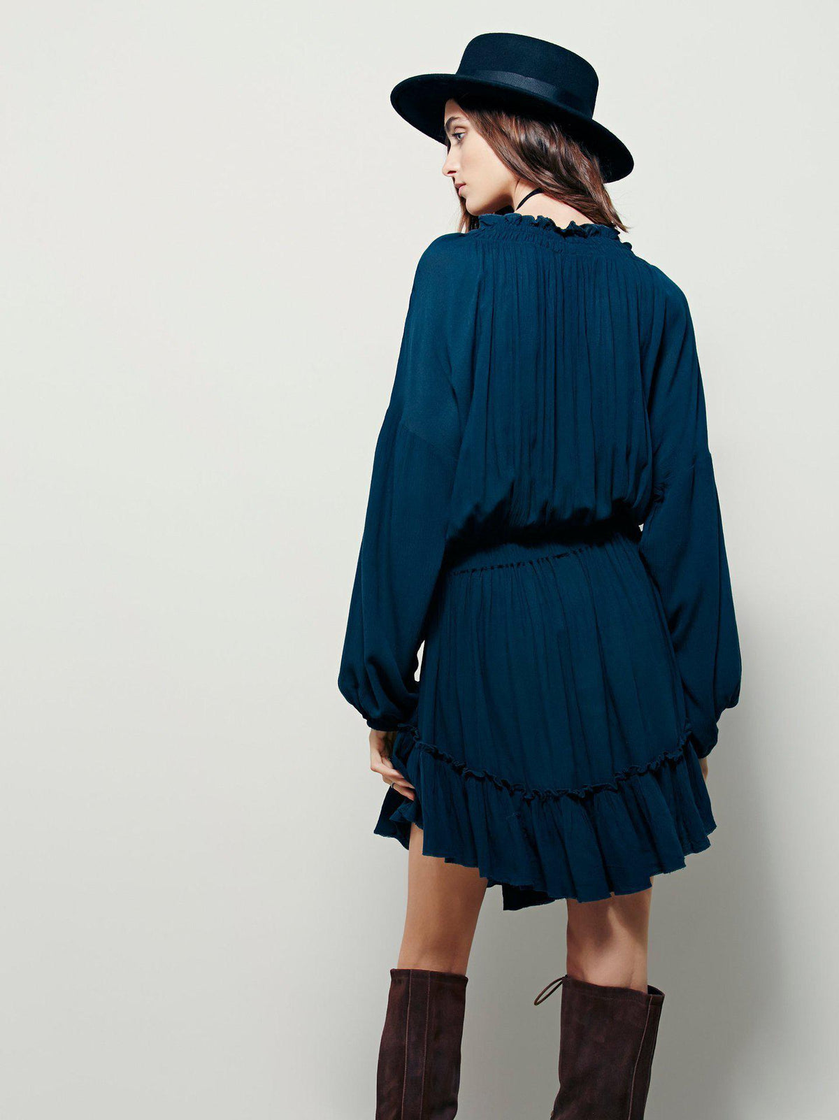 Bohemian style irregular dress hollow out loose casual fashion dress ruffles draped short dress women's dress-Dress-SheSimplyShops