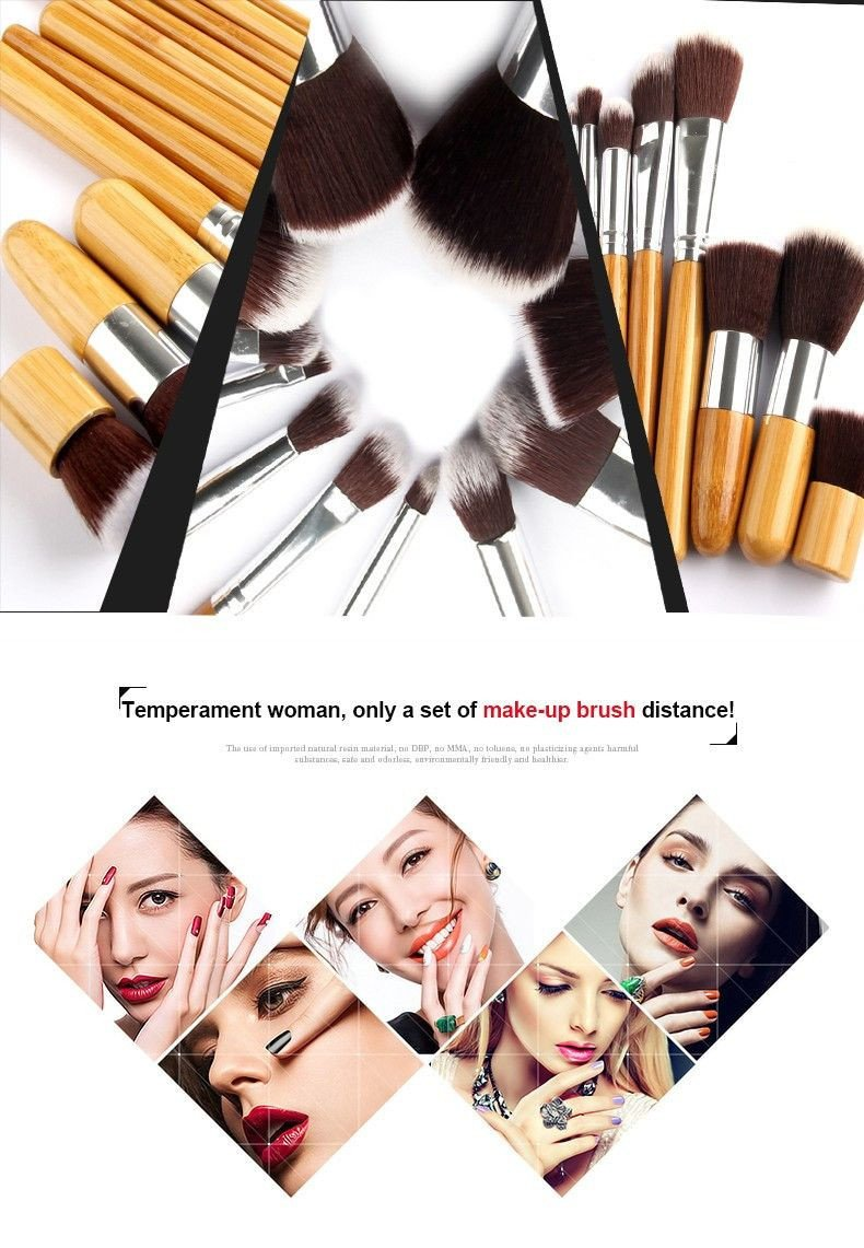 Bamboo Makeup Brushes: 11Pcs Makeup Brushes Cosmetics Tools Natural Bamboo Handle