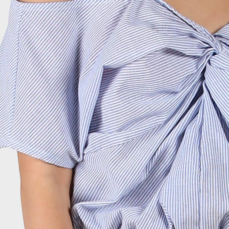 Twist Front Slip Crop Blouse Blue Striped Tops Women Cute Smocked Hem Tops Cold Shoulder Sexy Cotton Blouse-Blouse-SheSimplyShops