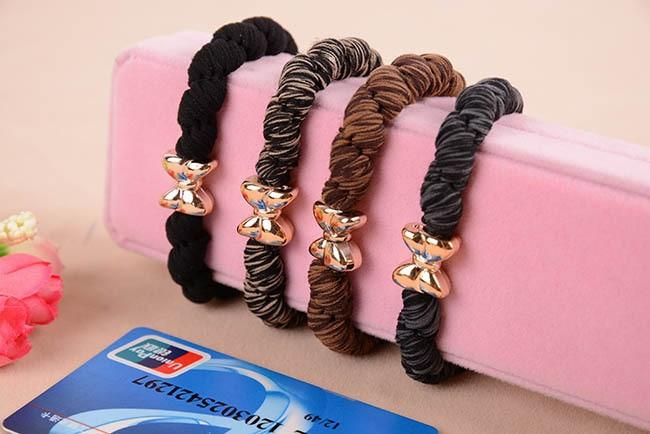 10pcs lot Gold Plated Bowknot Button Big Black Elastic Ponytail Holders Hair Accessories Cute Girl Women Rubber Bands Tie Gum-ACCESSORIES-SheSimplyShops