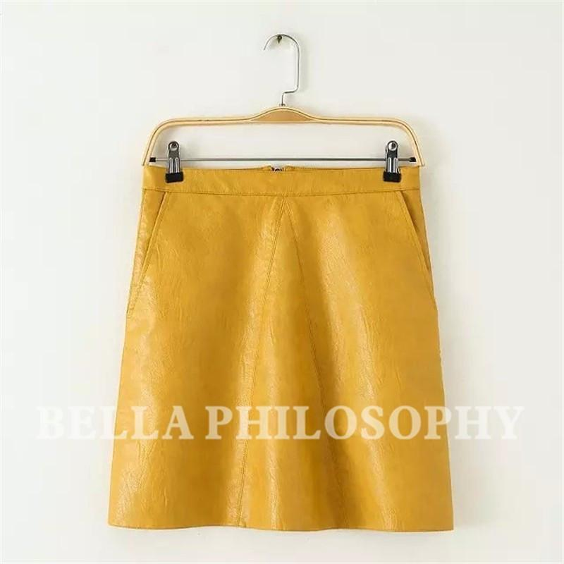 Autumn winter new quality brand design PU faux leather women skirt pink yellow black back zipper-Dress-SheSimplyShops