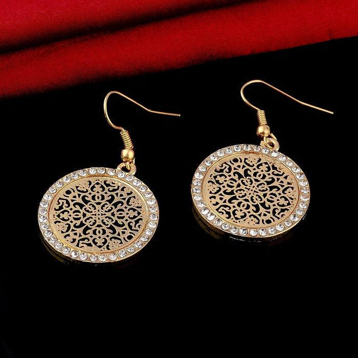 Vintage Big Round Flower Gold Silver Earrings-EARRINGS-SheSimplyShops