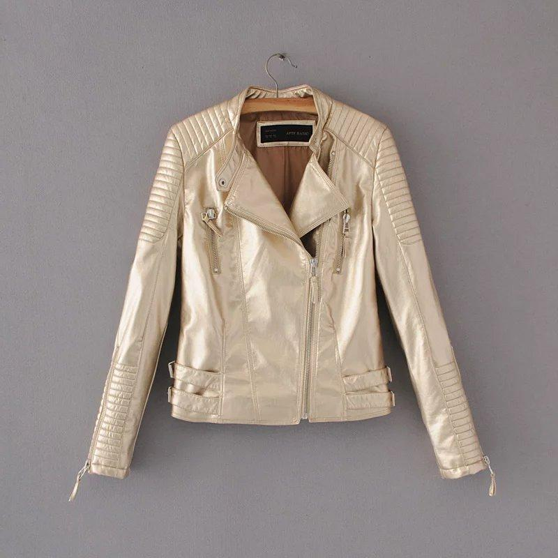 Fashion Spring Autumn Women Faux Leather Jacket Zipper Motorcycle&Biker PU Leather Coat Slim Short Outwear-Coats & Jackets-SheSimplyShops