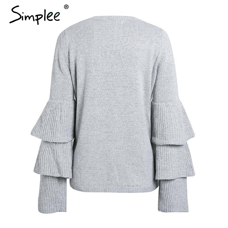 Knitting ruffles winter sweater women Loose flare sleeve pullover female Casual party knit pull femme jumper-SWEATERS + CARDIGANS-SheSimplyShops