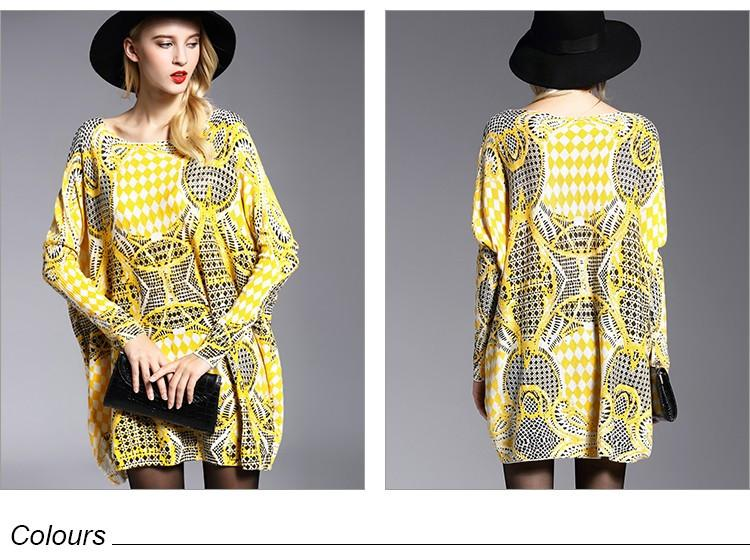 New Autumn Long Women Sweater Casual Coat Batwing Sleeve Print Women's Sweaters Clothes Pullovers Fashion Pullover Clothing-Coats & Jackets-SheSimplyShops