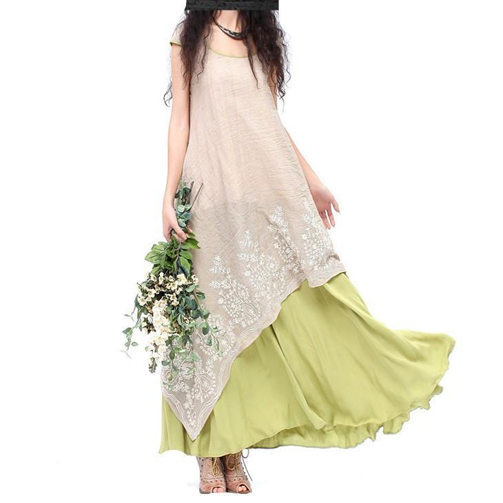 summer new national wind ladies leave two put on a large cotton dress embroidered linen-Dress-SheSimplyShops
