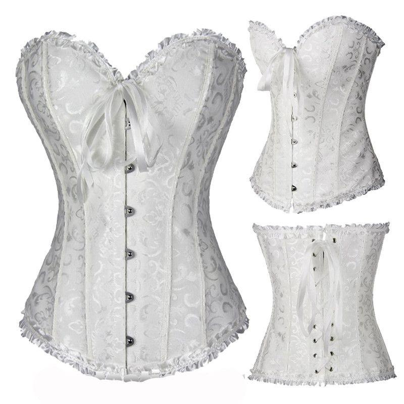 Black White Sexy Boned Waist Trainer Brocade Corsets Bustiers Embroidery Lace Up Corset Gothic Body Shaper-SheSimplyShops