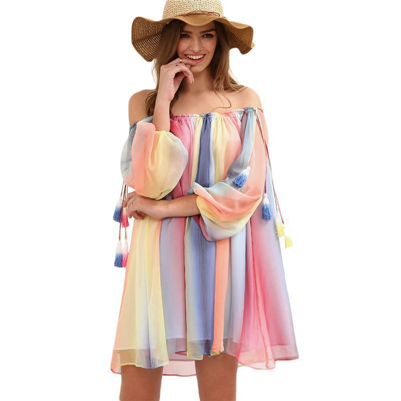 SheIn Women New Short Dresses Summer Beach Multicolor Print Long Sleeve Off The Shoulder Tassel Shift Dress-Dress-SheSimplyShops