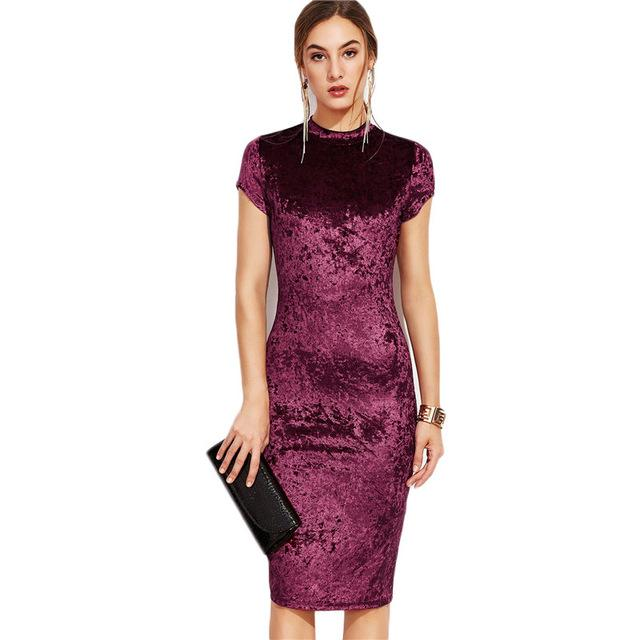 Burgundy Velvet Midi Dress Women Elegant Ladies Office Dresses Mock Neck Cap Sleeve Velvet Pencil Dress-Dress-SheSimplyShops