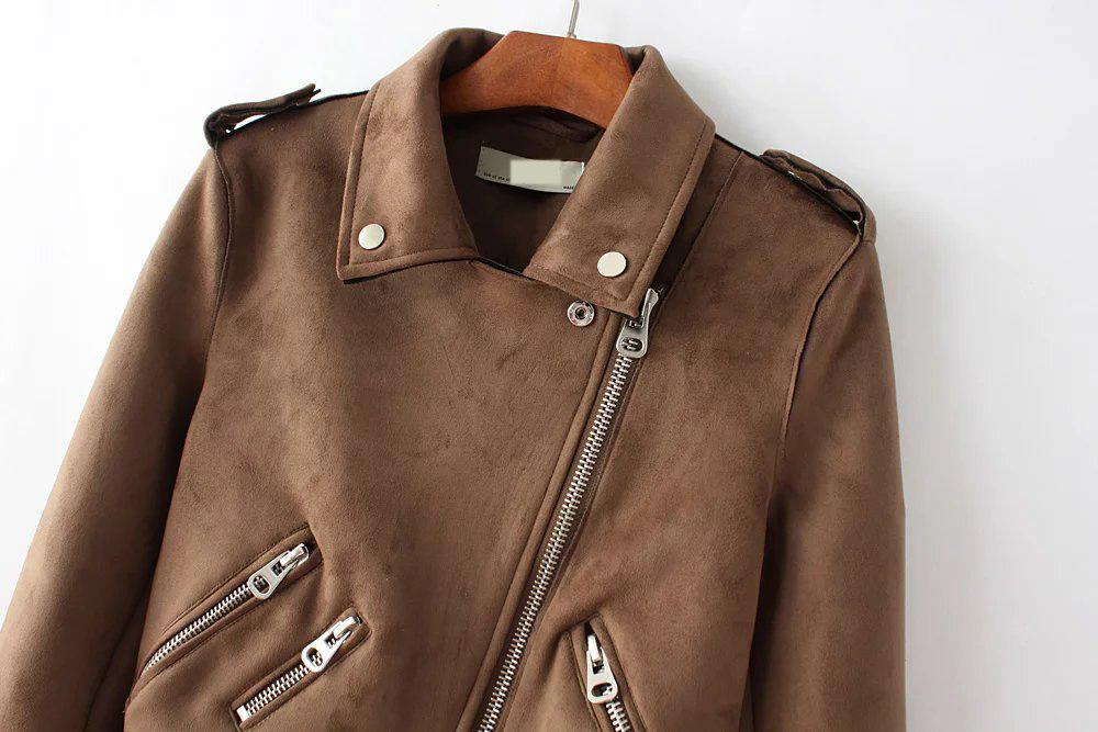 Fashion imitation short section Jackets winter lapel badges zipper long-sleeved belt Brown gray Coat-Coats & Jackets-SheSimplyShops