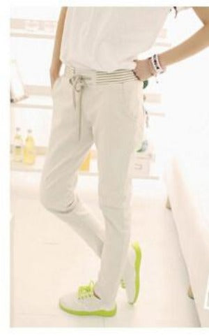New Women Pants Solid Color Drawstring Elastic Waist Comfy Full Length Casual Cotton Harem Pants Trousers leggings-PANTS-SheSimplyShops