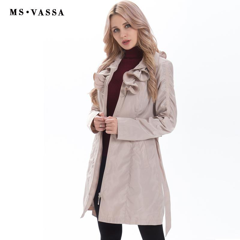 New Women coat fashion trench coat adjustable waist belt fashionable slim memory ruffled collar outerwear-Coats & Jackets-SheSimplyShops