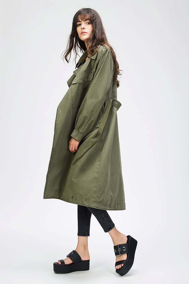 Autumn New Fashion Women's Casual trench coat Cotton Vintage Washed Military Outwear Loose Clothing with belt-Coats & Jackets-SheSimplyShops