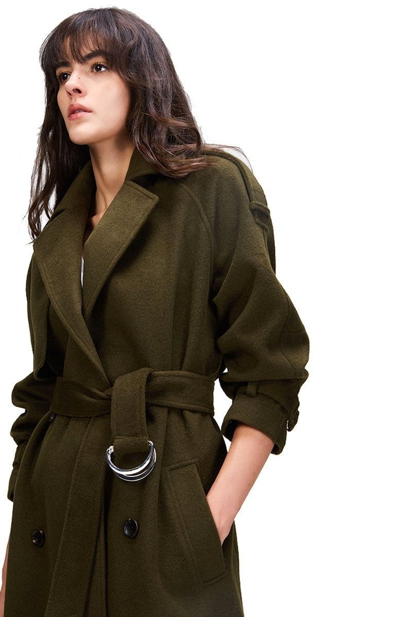 New Women's Casual wool blend trench coat Double Breasted X-Long coat with belt-Coats & Jackets-SheSimplyShops