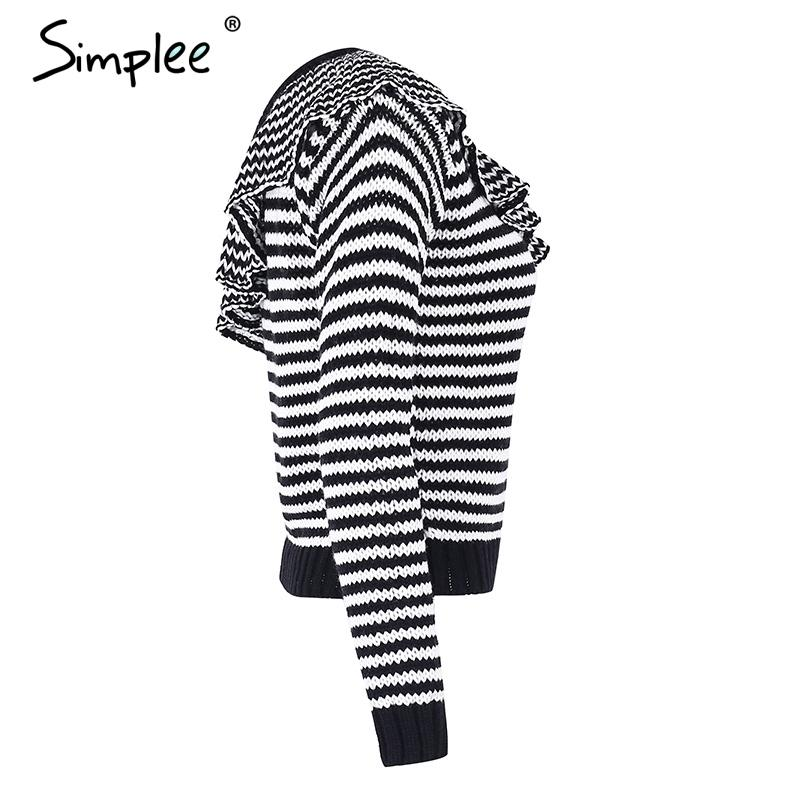 Striped knitted pullover sweater women One shoulder ruffle long sleeve jumper Casual autumn winter knitting pull femme-SWEATERS + CARDIGANS-SheSimplyShops