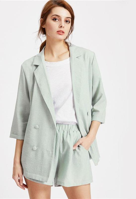 Green Double Breasted Blazer With Elastic Waist Shorts Sleeve Plain With Pockets Work Wear Set-PANTS-SheSimplyShops