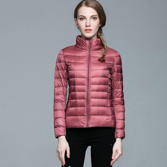 Winter Women Stand Collar 90% White Duck Down Jacket Female Ultra Light Down Jackets Slim Long Sleeve Parkas Candy Color Fashio-Coats & Jackets-SheSimplyShops