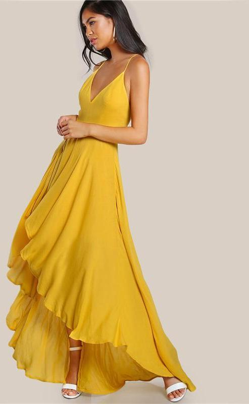 High Low Draped Party Dress Sexy Backless Women V Neck Yellow A Line Dresses Cross Slip Maxi Dress-Dress-SheSimplyShops