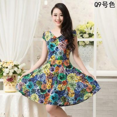 New Fashion Women Summer Milk Silk Dress Short Sleeves Vintage Printed Flower Print sundress Casual sexy bodycon Dresses-Dress-SheSimplyShops