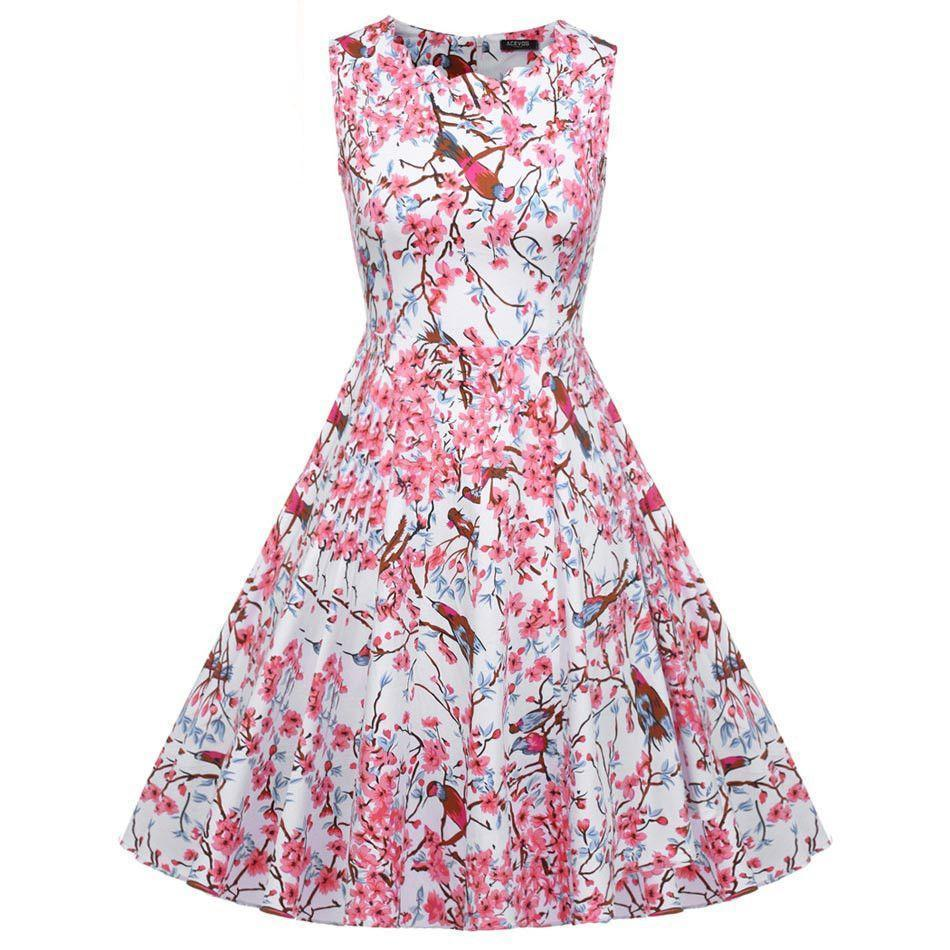 Women Ladies Vintage Style 1950s Flower Print Sundress Swing Hem Scalloped Collar Party Casual Pleated Dress-Dress-SheSimplyShops