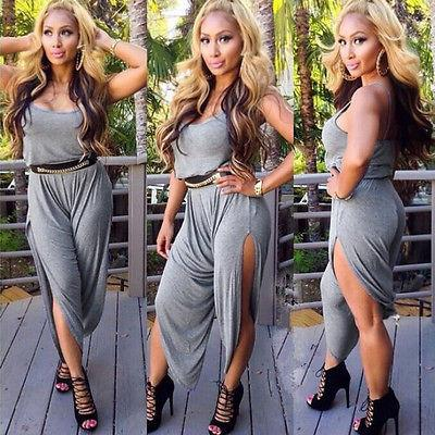 Womens Ladies Sleeveless Jumpsuit Bodycon Playsuit Clubwear Summer Sexy Pants Trousers Romper Black-ROMPERS & JUMPSUITS-SheSimplyShops