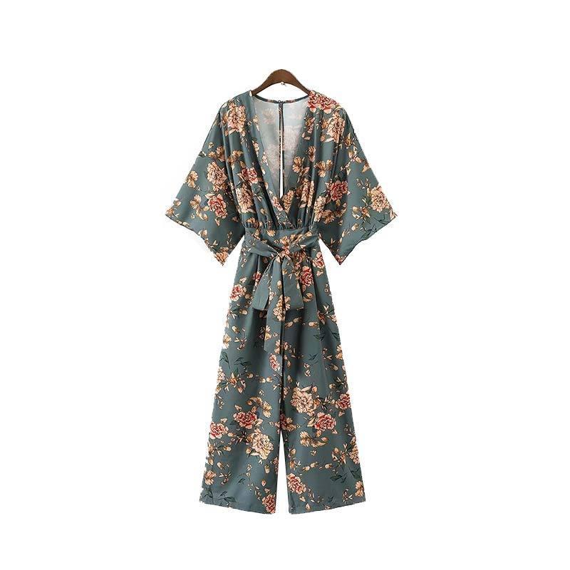 Vintage floral V neck backless pleated rompers-ROMPERS & JUMPSUITS-SheSimplyShops