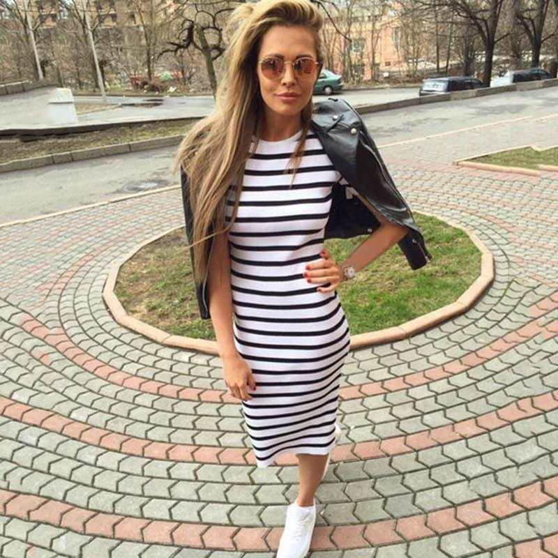 Summer dress women Sheath dresses Striped Dress Short Sleeve plus size women clothing dresses Mid-Calf-Dress-SheSimplyShops