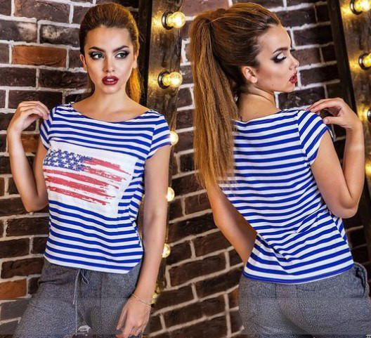 Women Summer Unique Letter Print Striped T-shirts.-SHIRTS-SheSimplyShops