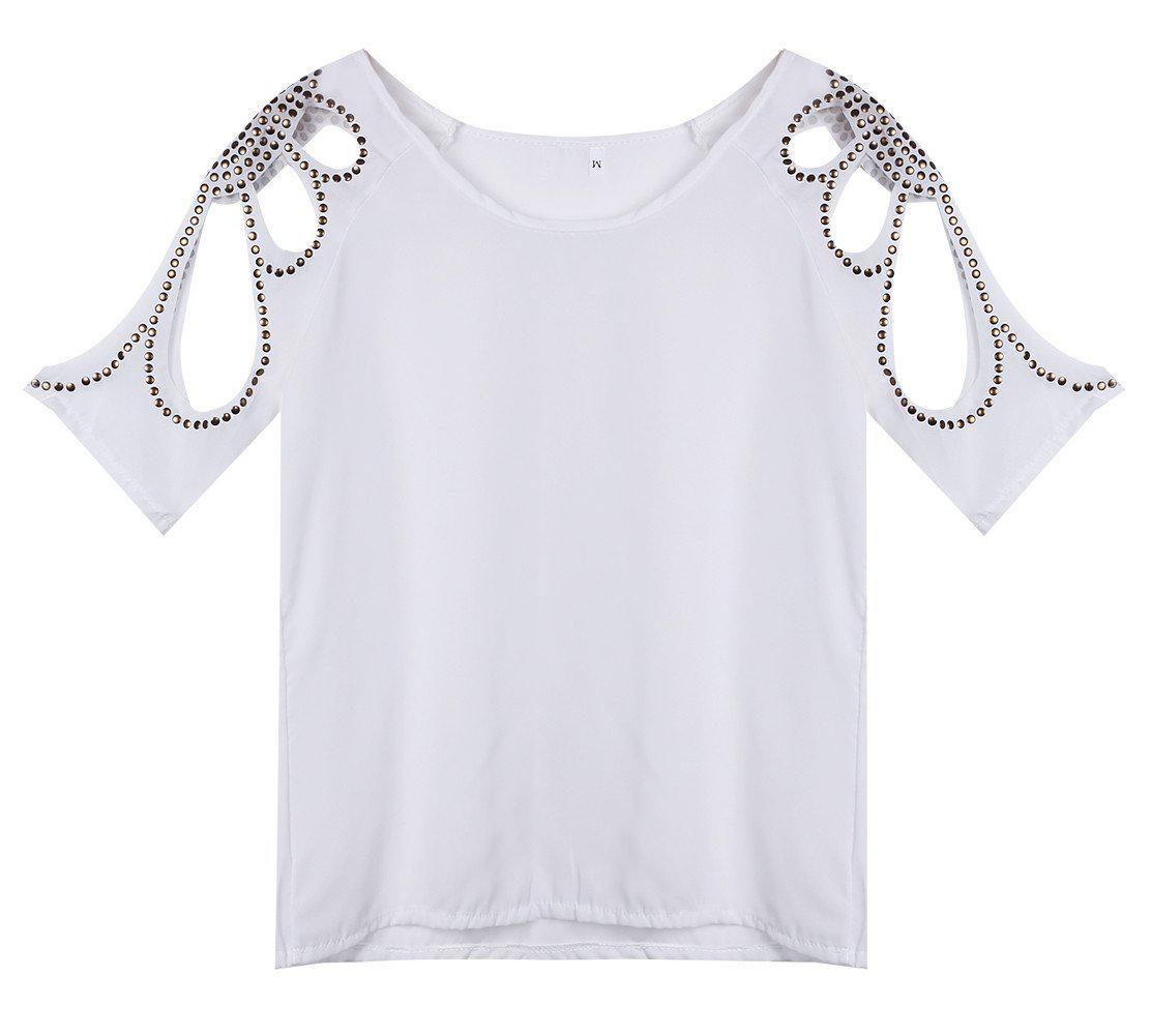Summer Women's Chiffon Tee Top Batwing Short Sleeve Shirt Loose Casual Tops & Tees-SHIRTS-SheSimplyShops