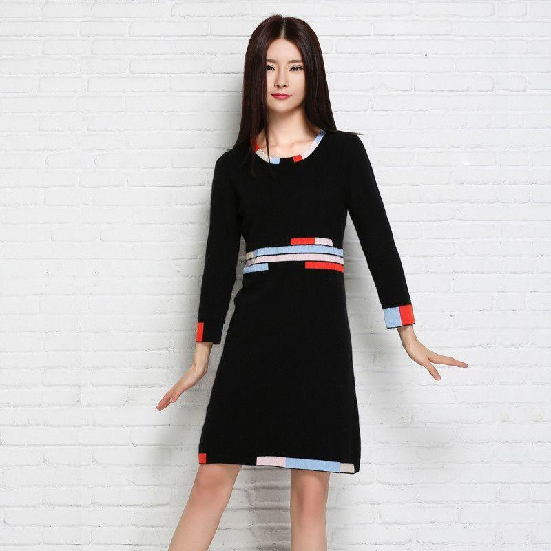 Adohon Fashion Women Sweaters and Pullovers Sueter Femme Winter Tricot Knitted Cashmere Knitwear Dresses Patchwork-Dress-SheSimplyShops