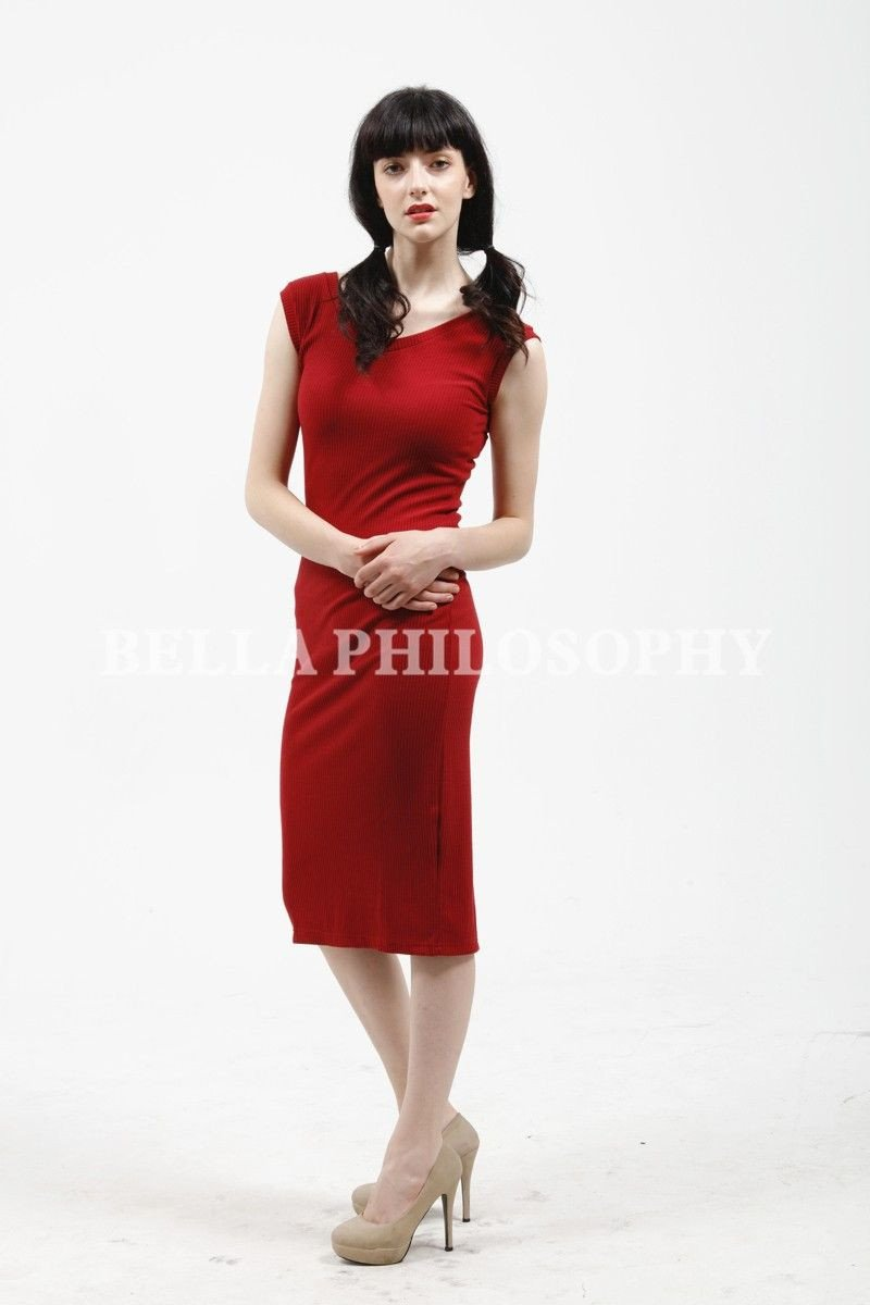 Bella Philosophy new summer women's Stretchy Knitted V Neck Ruched Sleeveless Skinny Split Pencil Dress Red Blue Gray-Dress-SheSimplyShops