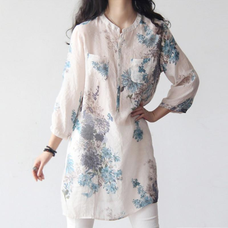 Women Blouses Fashion V-neck Three Quarter Long Louse Plus Size Cotton Linen Embroidery Women's Shirt Das Mulheres-Blouse-SheSimplyShops