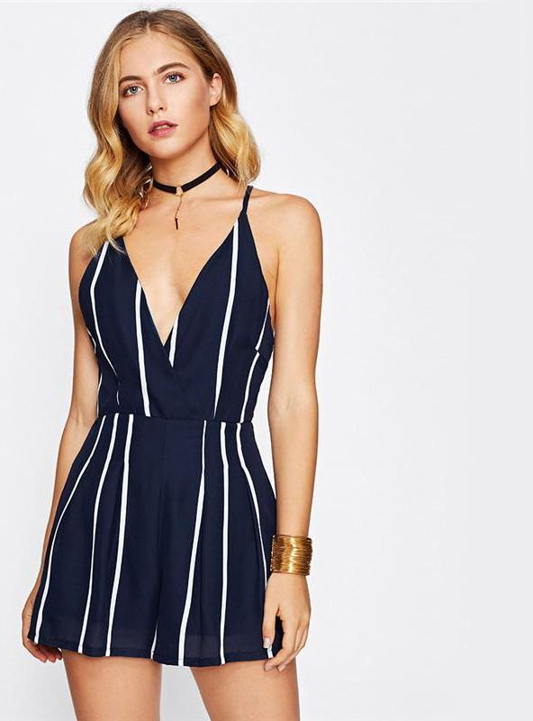 Cross Back Striped Romper-ROMPERS & JUMPSUITS-SheSimplyShops