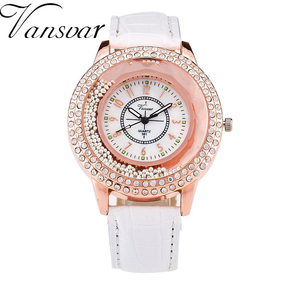 Gogoey Brand Watch Leather Strap Women Rhinestone