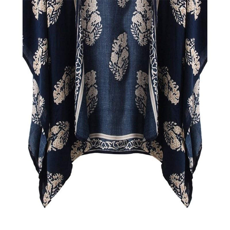 Plus Size S-4XL Summer Style Women Casual Loose Bat Half Sleeve Blouses Tops Jackets Print Kimono Cardigan Coats Outwear-Coats & Jackets-SheSimplyShops