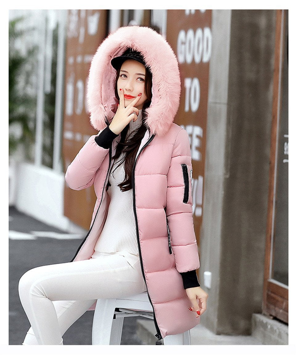 New Long Parkas For Women Winter Slim Wadded Cheap Coats Fur Hooded Quilted Jackets Solid Color Zipper Outwear-Coats & Jackets-SheSimplyShops