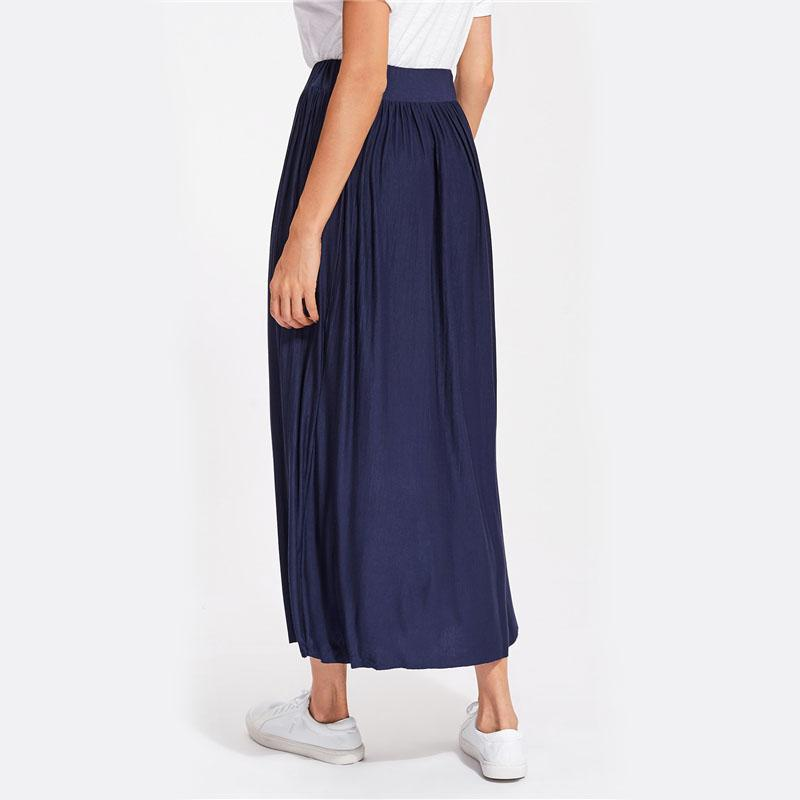 Navy Elastic Waist Maxi Skirt-Dress-SheSimplyShops