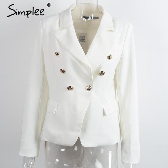 Breasted white blazer Women coat elegant slim suit blazer Black cool winter outwear short jacket-Coats & Jackets-SheSimplyShops