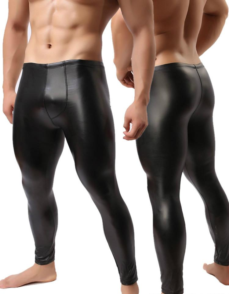 Fashion Mens Black Leather Pants Long Trousers Sexy-PANTS-SheSimplyShops